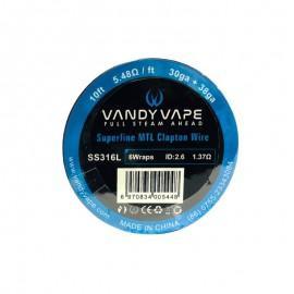 VandyVape SS316L Superfine MTL Clapton Wire 30ga+38ga - 10ft - 5.48ohm/ft